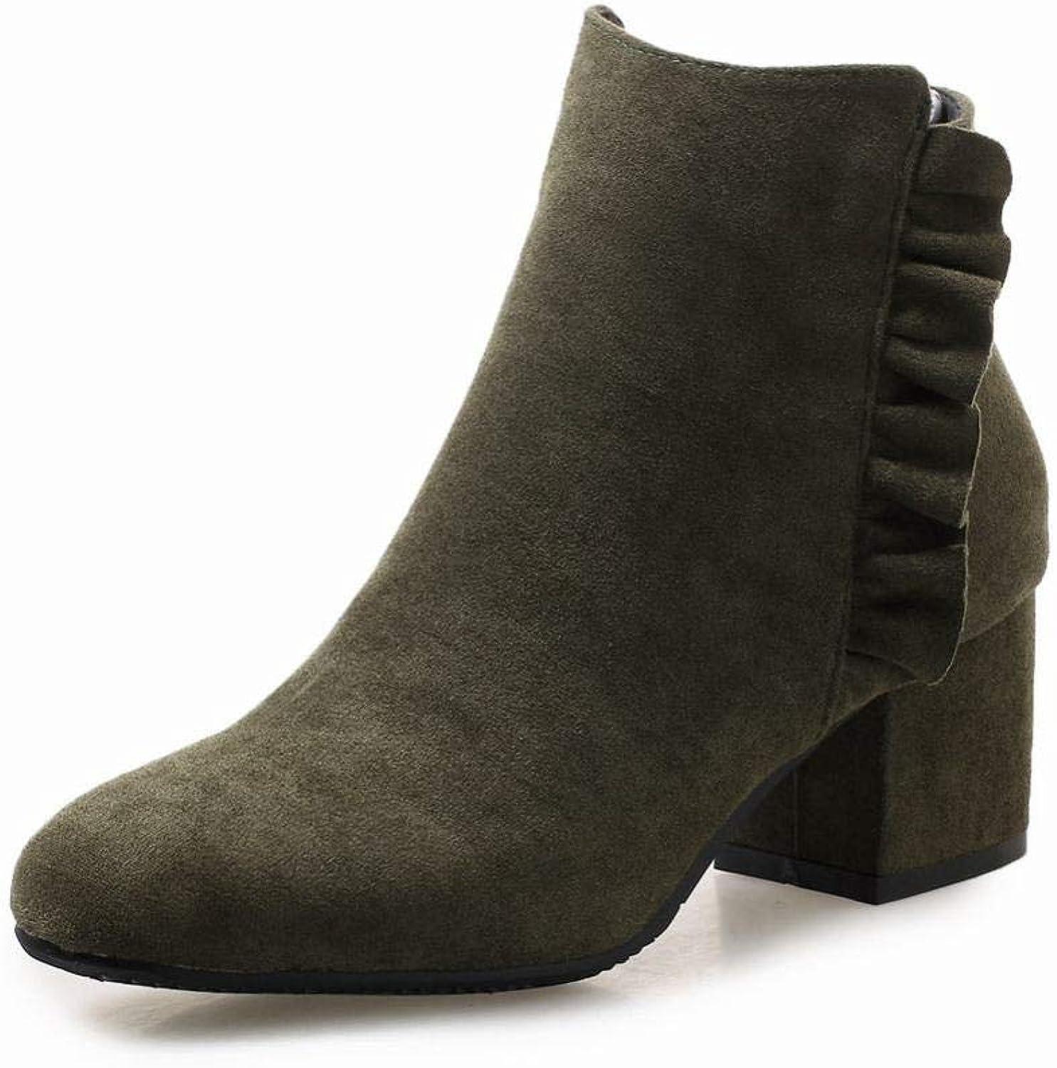IG Damenstiefel - - - Herbst Und Winter Dick Mit Stiefeln Spitze Stiefel High Heel 5.5Cm Martin Stiefel 34-43,Armeegrün,38  0e2d84