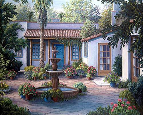 HUANSUNWO Kit de pintura al óleo por números, kit de pintura al óleo para adultos y niños principiantes, 40,6 x 50,8 cm, patio y flores (sin marco)