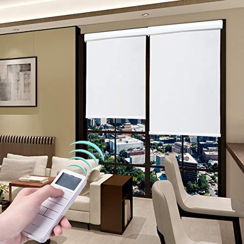 Roller Blinds Motorized Blackout Cordless Thermal Shades with Remote Control & Rechargeable Wireless UV Protection Window Blinds White 38 x 72 Inch
