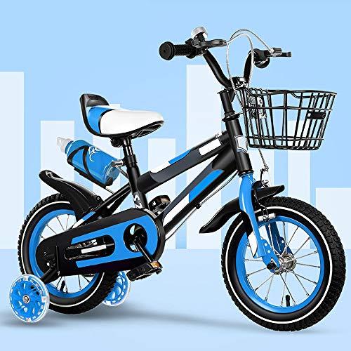 ZRZJBX 12' 14' 16' 18' BMX Freestyle Bicicletta per Bambini per Bici per Bambini, Regolabile, Resistente, con Stabilizzatori Rimovibili E Porta-Borraccia Sportiva,Blue-18