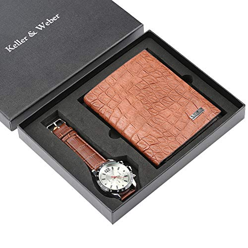 Reloj de pulsera de cuarzo con correa de cuero para hombre, monedero...