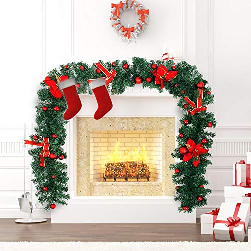 Interlink-US 9ft Christmas Garland Decorations Xmas Festive Wreath Garland with Flower & Red Ball for Xmas Tree Fireplaces Stairs Doors (Gold) (red)