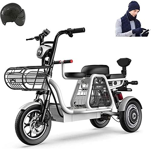 Bicicleta electrica Bicicleta eléctrica de 500 vatios de 3 ruedas para adultos 48V 8AH Montaña Scooter eléctrico 12 en bicicleta eléctrica Múltiple absorción de choque con cesta de almacenamiento y as