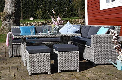 Outzone PausDich Essgruppe, Moderne Sitz-Gruppe aus Aluminium,Kissenbox integriert, Lounge-Möbel, Ecklounge oder Zwei Bänke mit Tisch für Garten und Terrasse, Grau Anthrazit