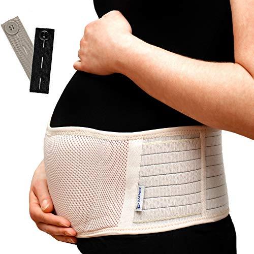 Neuheit - Schwangerschaftsgürtel - Bauchband Schwangerschaft - Schwangerschaftsgurt verstellbar - Bauchstütze atmungsaktiv - Bauchgurt Schwangerschaft - Umstandsmode - mit Hosenbunderweiterung (Beige)