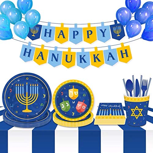 SuperB Festival of Lights Hanukkah Tableware Kit for 8 Guests, Includes 7'' and 9'' Plates, Napkins, Cups, Banner and Balloons
