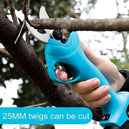 Sooiy Cortado 21 V eléctrico poda cizallas, Tijeras de podar con batería de Litio Recargable/Recorte de Ramas, arbustos y Plantas Tallos, Ramas 30mm