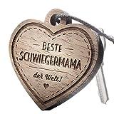 """Premium schenkYOU Schlüsselanhänger aus Nussbaumholz vorgraviert - personalisierte Geschenkidee - Gravur """"Beste Schwiegermama der Welt!"""""""