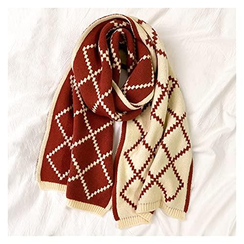 JFTMY Mujer Cachemira mantón Grueso otoño e Invierno Diamante celosía Bufanda de Doble Cara Bufanda de Tejer Caliente Largo (Color : Red, Size : 180 * 35cm)