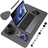 AFRITEE Desk Pad Desk Protector Mat - Dual Side PU Leather Desk Mat Large Mouse Pad, Writing Mat Waterproof Desk Cover Organizers Office Home Table Gaming Decor (Dark Gray/Black, 23.6' x 13.8')