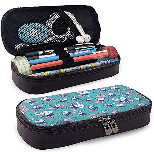 Animal Elephants Play Music PU Leather Pencil Pen Bag Pouch Case Holder School Office College Student Coin Purse Cosmetic Bag