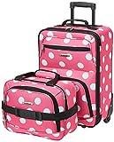 Rockland Fashion Softside Upright Luggage Set, Pink Dots, 2-Piece (14/19)