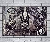 Hr Giger Alien Dark Evil Wall Art Home Wall Decorations for Bedroom Living Room Oil Paintings IFUNEW Canvas Prints-1434 (Framed,16x24inch)