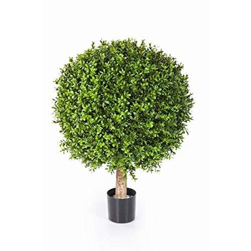 artplants.de Künstliche Buchskugel Tom auf Stamm, 1550 Blätter, 65cm, Ø 50cm - Künstlicher Buchsbaum Buxkugel Buchsbaumkugel