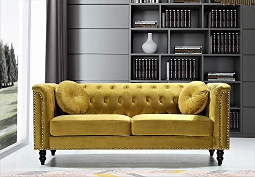 US Pride Furniture Connally Chesterfield 76' Rolled Arms Sofas, Strong Yellow