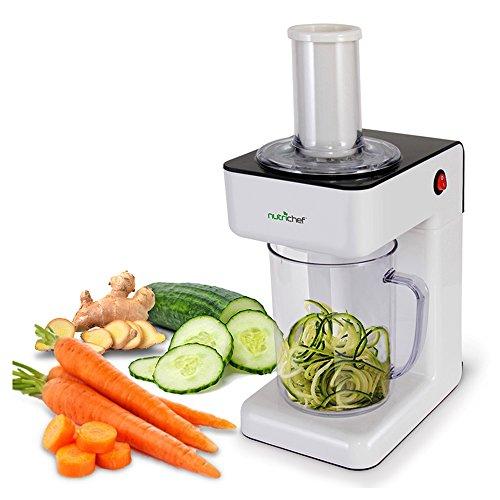 Electric Food Spiralizer Slicer Chopper - 3-in-1 Vegetable Processor, Fruit Cutter, Spiral Shredder Machine, Veggie Spaghetti Noodle, Zoodle Maker w/ 3 Cutting Blade, 1.2L Bowl - NutriChef PKESPR26
