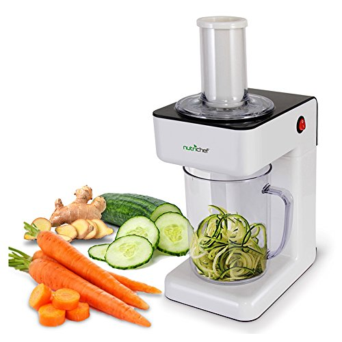 Electric Food Spiralizer Slicer Chopper  3in1 Vegetable Processor Fruit Cutter Spiral Shredder Machine Veggie Spaghetti Noodle Zoodle Maker w/ 3 Cutting Blade 12L Bowl  NutriChef PKESPR26