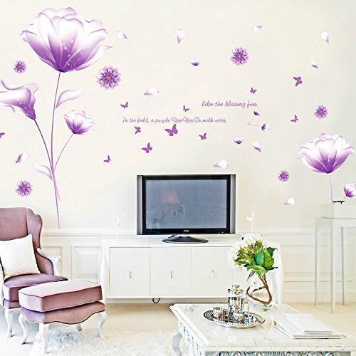 ufengke® Bella Viola Fiori Adesivi Murali,Camera da Letto Soggiorno Adesivi da Parete Removibili Stickers Murali Decorazione Murale