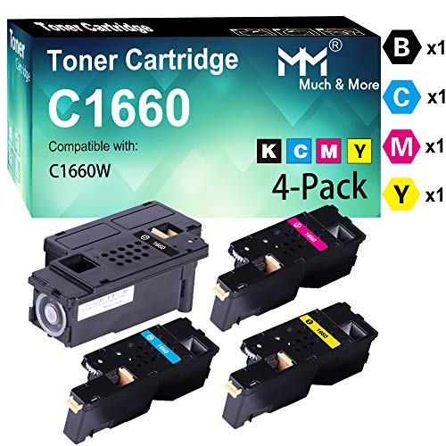 (4-Pack, BK+C+M+Y) Compatible Toner Cartridge Replacement for Dell C1660 C1660W C1660cnw 1660 Printers, by MuchMore