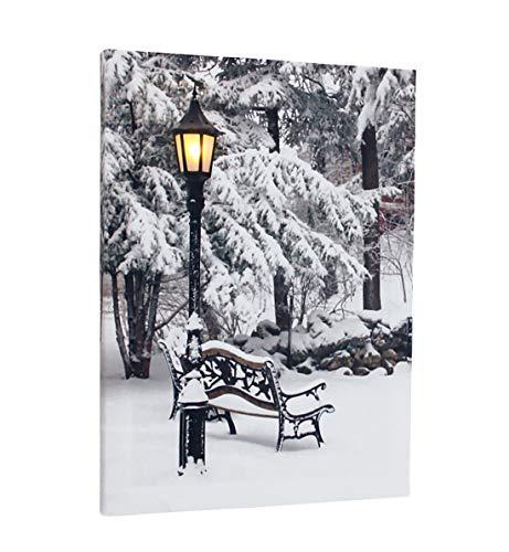Fachhandel Plus Leinwandbild mit LED-Beleuchtung 30 x 40 cm Wandbild Winter mit Bank und Laterne Leuchtbild LED-Bild