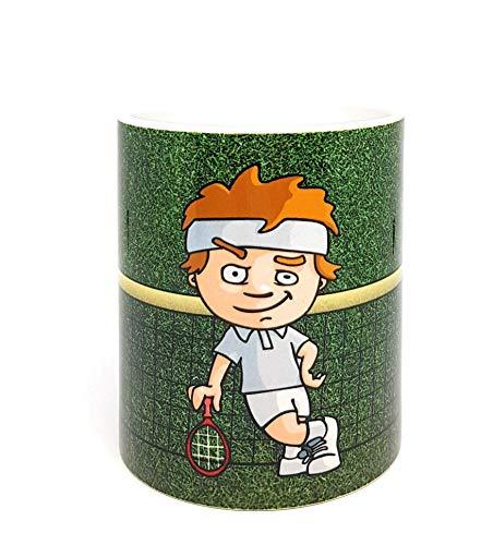 Gute-Laune-Tasse, Tasse mit süßem Tennisspieler und Namen personalisiert. Individuell bedruckt, perfekt als Geschenk.
