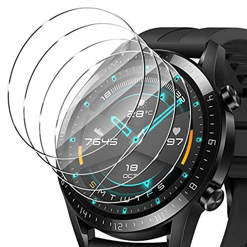 ELYCO [4 Pezzi] Huawei Watch GT 2 46mm Vetro Temperato Pellicola Protettiva, 9H Durezza Anti-Graffi/Anti-Olio Niente Bolle Screen Protector Pellicola Protettiva con Huawei Watch GT 2 46mm
