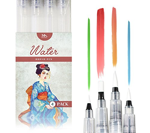 Rotuladores de Agua con Punta de Pincel - Water Brush Pens - Set de 4 para Artistas Consagrados y Pintores Principiantes - Ideal para Creaciones en Acuarela - MozArt Supplies