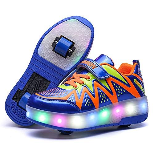 Zapatillas con Ruedas,Niños Niña LED Luz Parpadea Deportes Al Aire Libre Gimnasia Skateboard Sneaker Automáticamente Retráctiles Zapatos De Roller (Color : 3, Size : 39 EU)