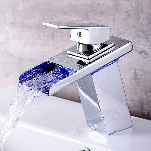 LED Beleuchteter Elektrischer Wasserhahn RGB Waschbecken Wasserhahn 3 Farbewechsel Bad Armatur Einhebelmischer FüR Badezimmer Waschbecken