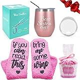 Bicchiere da vino + set regalo di calze da vino cupcake, bicchiere da vino senza stelo a doppio isolamento in acciaio inossidabile con coperchio e paglia, regalo per donne ragazze (Oro rosa Sister)