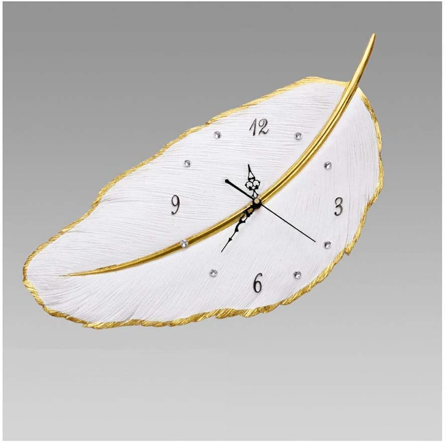 Wall Clock Creative Non Ticking New products world's highest Complete Free Shipping quality popular Operated Feather Analog Battery