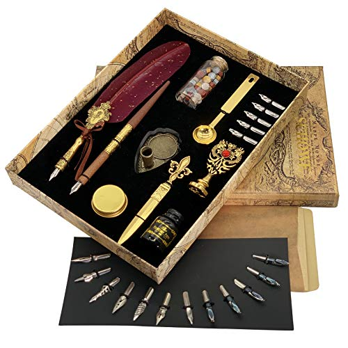 SCHOWE Feather Quill Writing Pen Wooden Dip Calligraphy Pen and Ink Set (Rose Red)