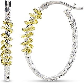 LeCalla Sterling Silver Jewelry Two Tone Diamond Cut Design Hoop Earring for Women Girl