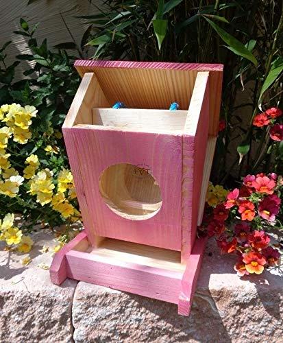 Vogelfutterstation-BEL-X-VOFU1K-pink002 XXL PREMIUM Vogelhaus Vogelfutterhaus Rot lachsrot behandelt pink rosarot Nistkasten für Nützlinge im Garten Marienkäfer, als Ergänzung zum Meisen Nistkasten Meisenkasten oder zum Insektenhotel, Futterstation für Vögel, Vogelhäuschen / Vogelvilla zum Hängen und Aufstellen von BEL - 4