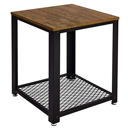 Meerveil Bout de Canapé Table Basse Table de Chevet Table de Salon, Style Vintage, Industriel, Veinure du Bois et Armature Métallique Rigide, pour Salon, Chambre
