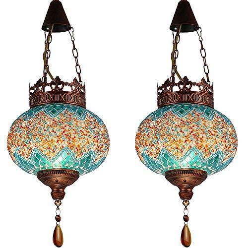 Iluminación colgante Shade araña de Turquía marroquí oval iluminación pendiente hecho a mano de cristal Cadena Restaurante Bar Cafe de la sala E27 mosaico individual de techo lámpara de araña