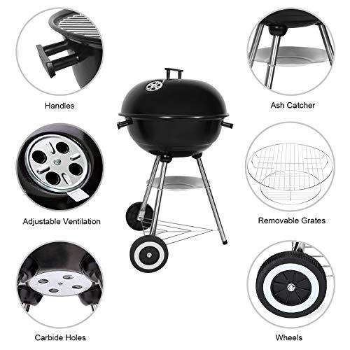 SunJas BBQ Barbecue Grill Griglia Carbone BBQ in Ferro Giardino Barbecue Grill con 2 Vassoio (45 x 46 x 20,5)