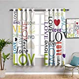 Love Decor Collection - Cortinas para puerta corredera, diseño de corazón, color tipografía y compromiso, imagen artística moderna, fácil de instalar, verde, negro, rojo, morado, 72 x 72 pulgadas