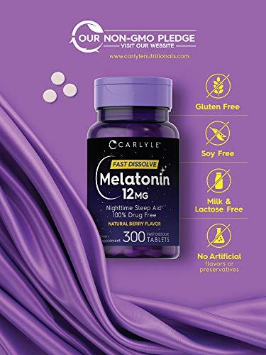Carlyle Melatonin 12 mg de disolución rápida 300 tabletas    Ayuda para dormir durante la noche    Sabor natural a bayas    Vegetariano, sin OMG, sin gluten