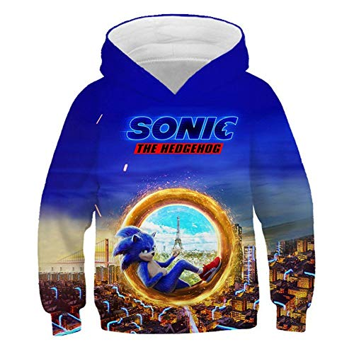 IFITBELT Jungen Mädchen Pullover Hoodie 3D Sonic The Hedgehog Druck Kinder Teenager Sweatshirt Casual Party Cospaly Jacket Tops, 100-160 (140(130-140cm),jugen18)