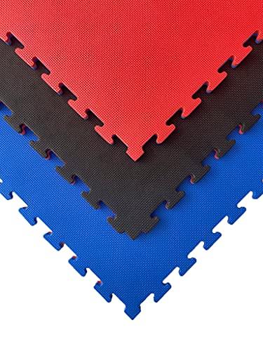 Esterilla puzzle para suelos de gimnasio y fitness, pack tatami puzzle 100 x 100 x 2 cm , suelo goma EVA para artes marciales, tatami extensible (25 unidades (25 m²), Rojo/Negro)