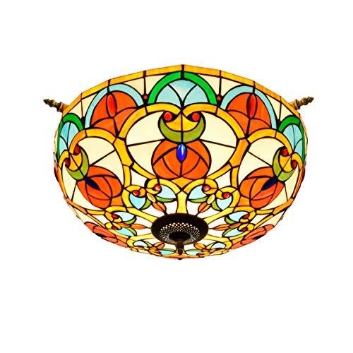 Iluminación de techo de vidrieras Gran lámpara de techo de cristal de colores 55CM retro de lujo Sala Comedor Bar Dormitorio Arte semi-lámpara del techo del corazón del melocotón del grano de Pantalla