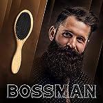 Bossman Boar and Nylon Bristle Hair and Beard Brush - Detangles & Straightens - Wooden Oval Wet Brush for Men 6