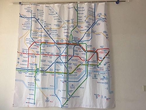 qhtqtt Duschvorhang Polyester Creative London U-Bahn Karte Mit Haken 180X180Cm A
