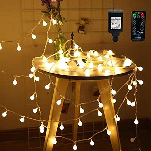 RaThun LED String Lights with RF Wireless Remote Control,49ft 100 LED Waterproof...