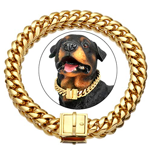 NIKPET Gold Dog Chain Collar 18K Metal Stainless Steel Cuban Link Chain Strong Heavy Duty Chew Proof Walking Training Choke Collar 10in to 26in for Small, Medium, Large Dogs(15MM, 26')