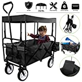 Flex HQ Collapsible Outdoor Utility Lightweight Wagon Cart with Top Canopy with New and Improved Extra Padding Black