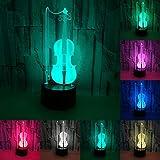 RUMOCOVO® Violonchelo Lámpara De Mesa Creativa LED 3D Visual USB Luz De Noche Para Dormitorio De Niños Hogar fiesta De Juguetes De Los Niños Navidad Regalos