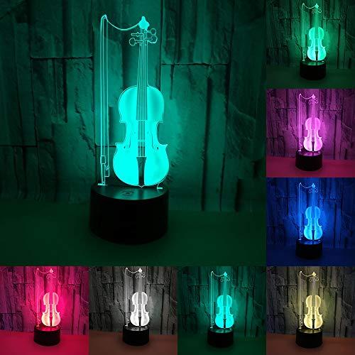 RUMOCOVO Cello-3D-LED-Nachtlicht mit 7 bunten wechselnden Farben, Heim- und Bürodekoration, kreative Schlafbeleuchtung, Musiker, Geschenke, Geburtstag, Weihnachten, Kinderspielzeug