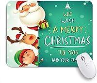 NIESIKKLAマウスパッド メリークリスマス面白いサンタクロース赤い鼻のトナカイと雪の中でエルフ ゲーミング オフィス最適 高級感 おしゃれ 防水 耐久性が良い 滑り止めゴム底 ゲーミングなど適用 用ノートブックコンピュータマウスマット